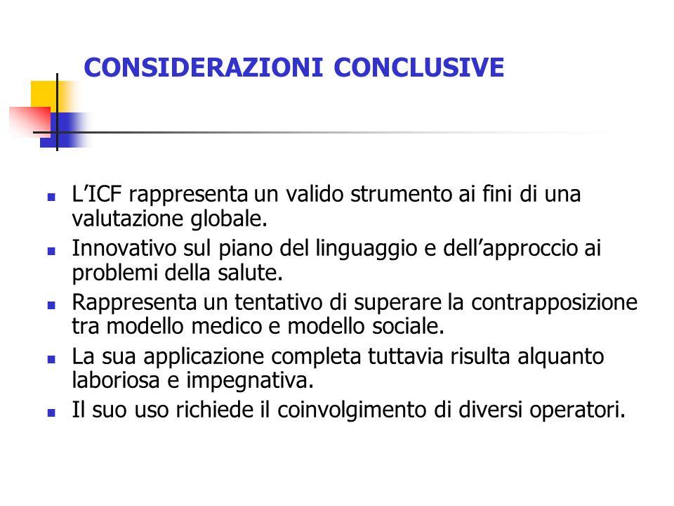 L'ICF rappresenta un valido strumento ai fini di una valutazione globale.