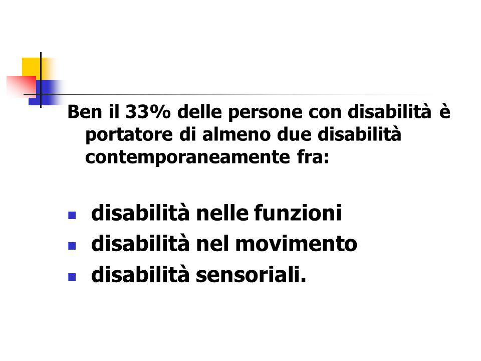 Ben il 33% delle persone con disabilità è portatore di almeno due disabilità contemporaneamente fra: disabilità nelle funzioni disabilità nel movimento disabilità sensoriali.
