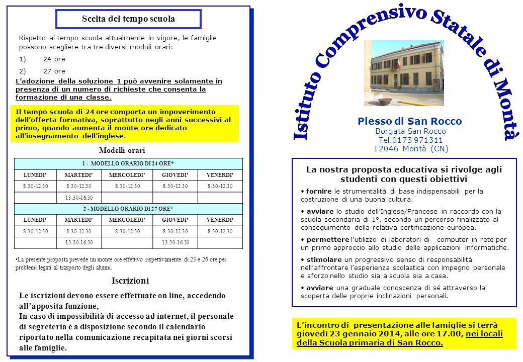 Plesso di San Rocco Borgata San Rocco Tel.0173 971311 12046 Montà (CN) La nostra proposta educativa si rivolge agli studenti con questi obiettivi fornire le strumentalità di base indispensabili per la costruzione di una buona cultura.