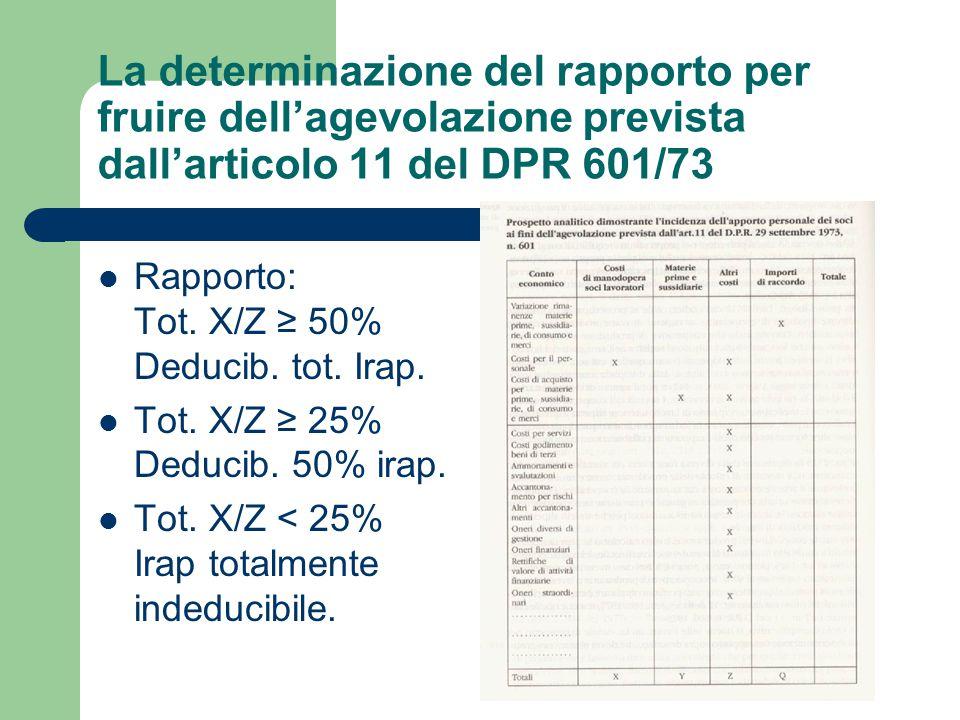La determinazione del rapporto per fruire dell'agevolazione prevista dall'articolo 11 del DPR 601/73 Rapporto: Tot. X/Z ≥ 50% Deducib. tot. Irap. Tot.