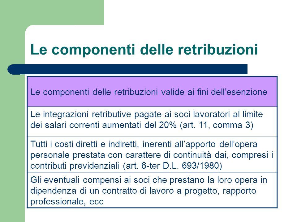 Le componenti delle retribuzioni Le componenti delle retribuzioni valide ai fini dell'esenzione Le integrazioni retributive pagate ai soci lavoratori