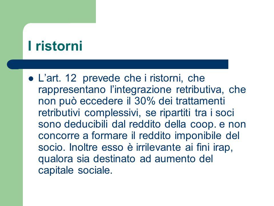 I ristorni L'art. 12 prevede che i ristorni, che rappresentano l'integrazione retributiva, che non può eccedere il 30% dei trattamenti retributivi com