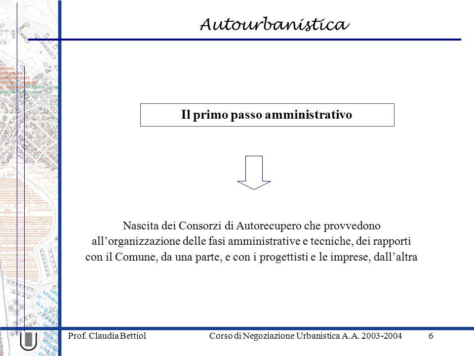 Autourbanistica Prof.Claudia Bettiol Corso di Negoziazione Urbanistica A.A.