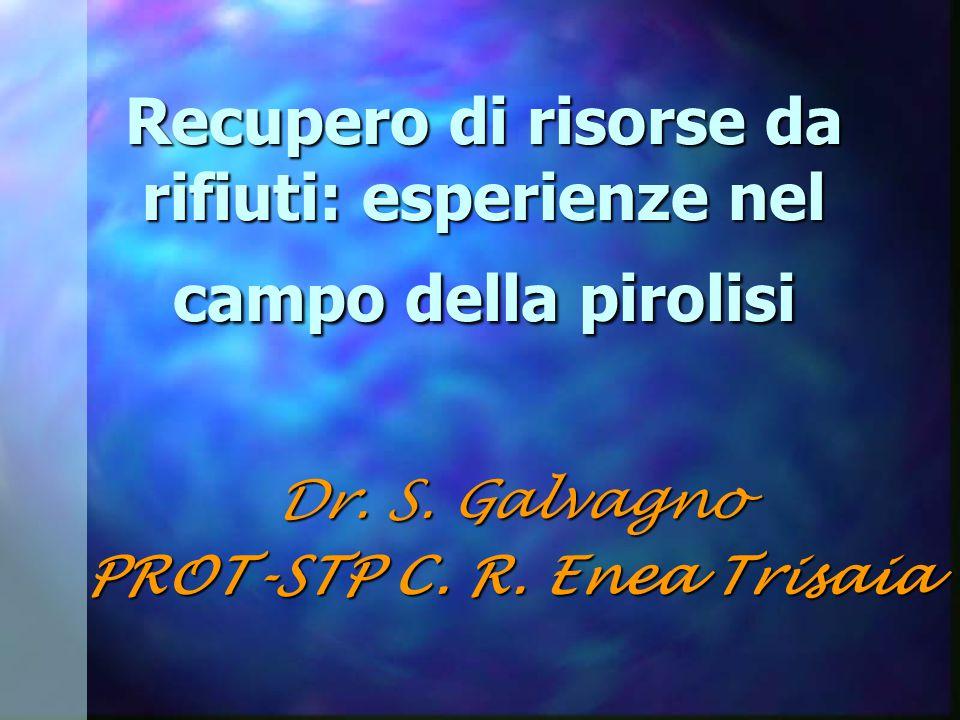 Recupero di risorse da rifiuti: esperienze nel campo della pirolisi Dr.
