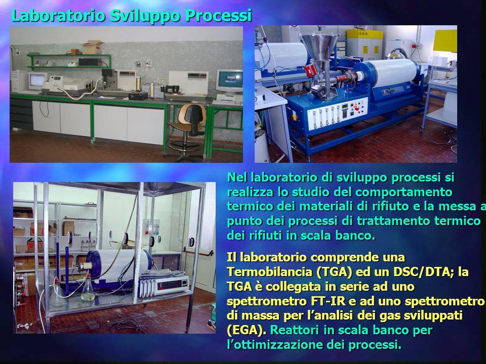 Laboratorio Sviluppo Processi Nel laboratorio di sviluppo processi si realizza lo studio del comportamento termico dei materiali di rifiuto e la messa a punto dei processi di trattamento termico dei rifiuti in scala banco.