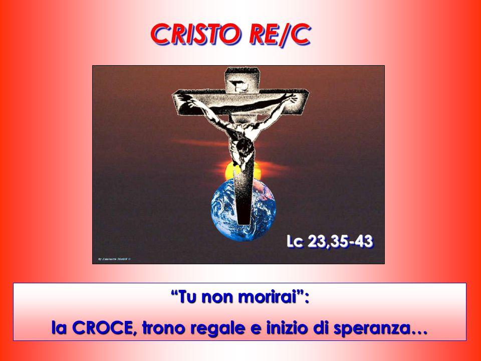 """CRISTO RE/C """"Tu non morirai"""": la CROCE, trono regale e inizio di speranza… Lc 23,35-43"""
