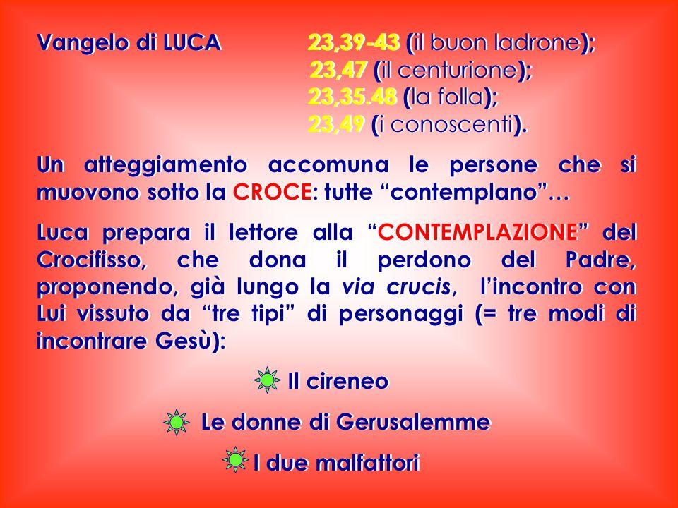 Vangelo di LUCA 23,39-43 ( il buon ladrone ); 23,47 ( il centurione ); 23,35.48 ( la folla ); 23,49 ( i conoscenti ). Un atteggiamento accomuna le per