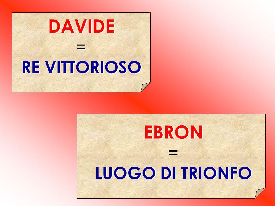 DAVIDE = RE VITTORIOSO DAVIDE = RE VITTORIOSO EBRON = LUOGO DI TRIONFO EBRON = LUOGO DI TRIONFO