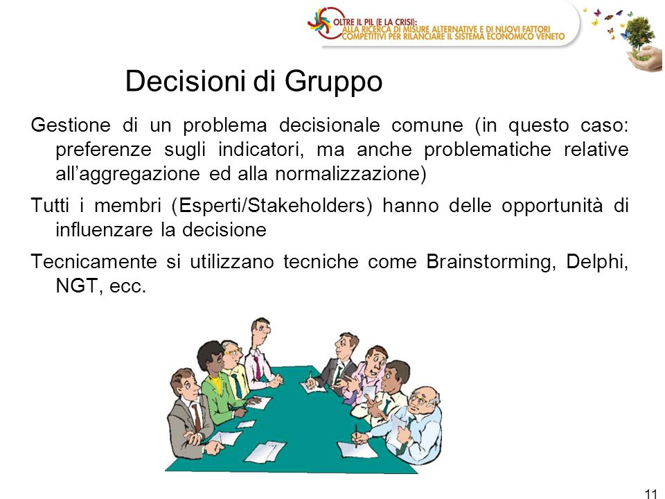 Decisioni di Gruppo Gestione di un problema decisionale comune (in questo caso: preferenze sugli indicatori, ma anche problematiche relative all'aggre