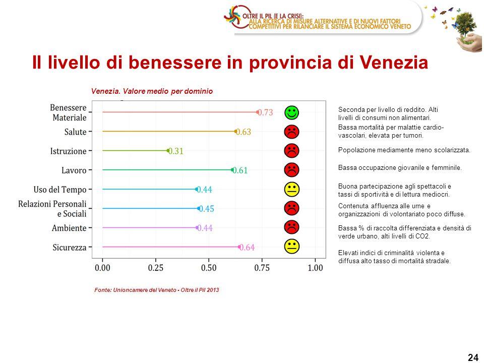 24 Il livello di benessere in provincia di Venezia Seconda per livello di reddito. Alti livelli di consumi non alimentari. Bassa mortalità per malatti