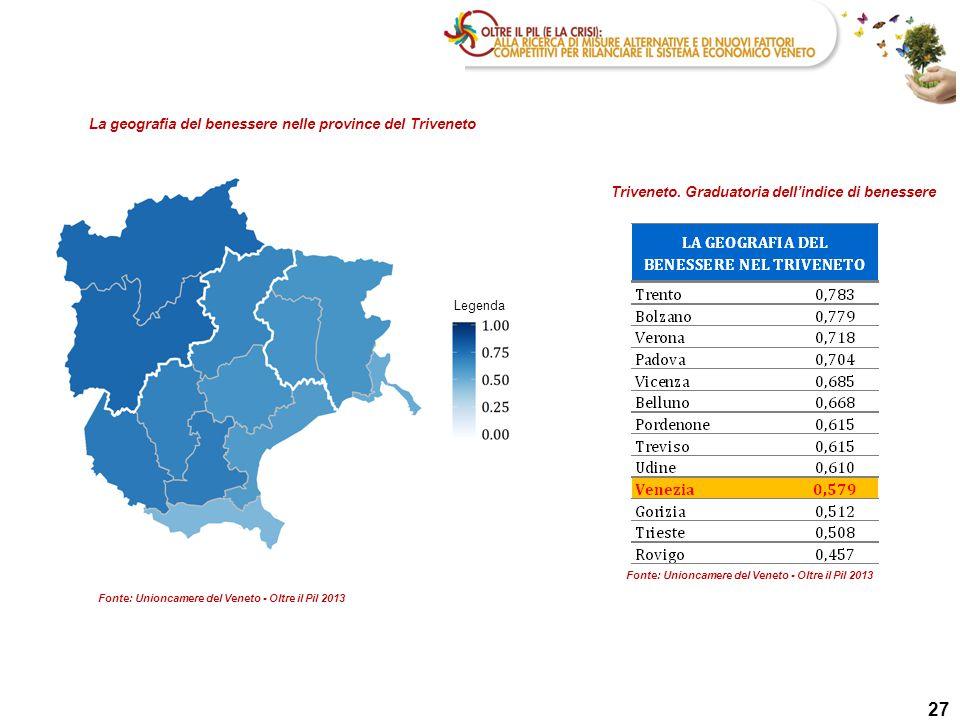 27 La geografia del benessere nelle province del Triveneto Triveneto.