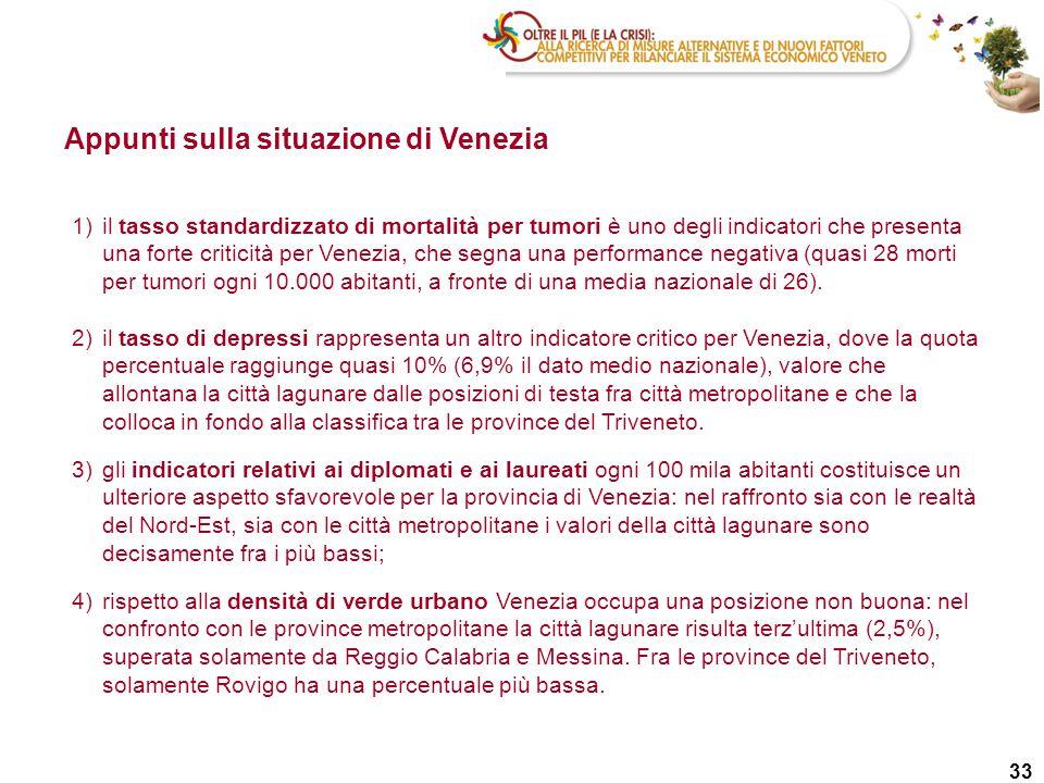 33 Appunti sulla situazione di Venezia 1)il tasso standardizzato di mortalità per tumori è uno degli indicatori che presenta una forte criticità per V
