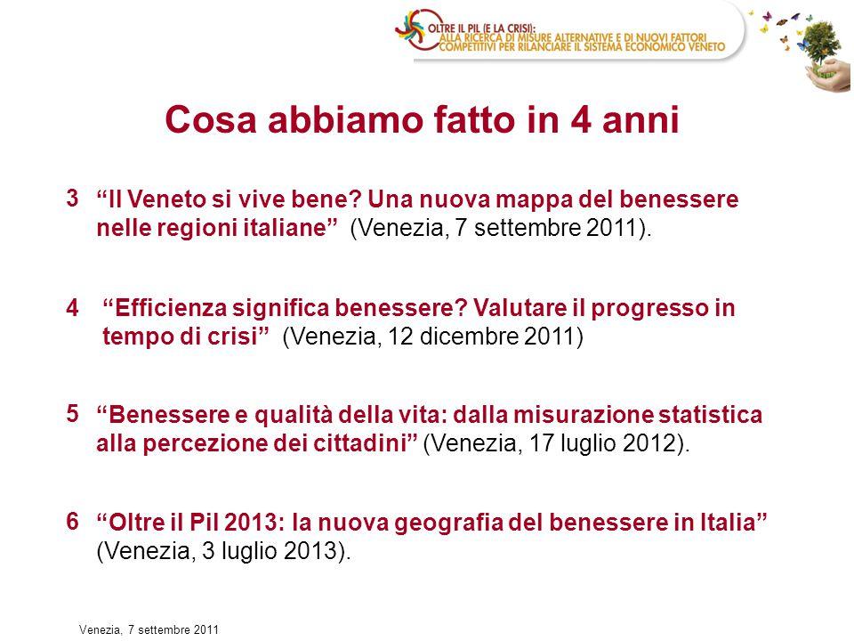 17 Il Veneto è 1° per benessere materiale e 2° per benessere nella salute, ma si posiziona nella seconda metà della graduatoria per benessere nell'istruzione (11°) e nella sicurezza (15°).
