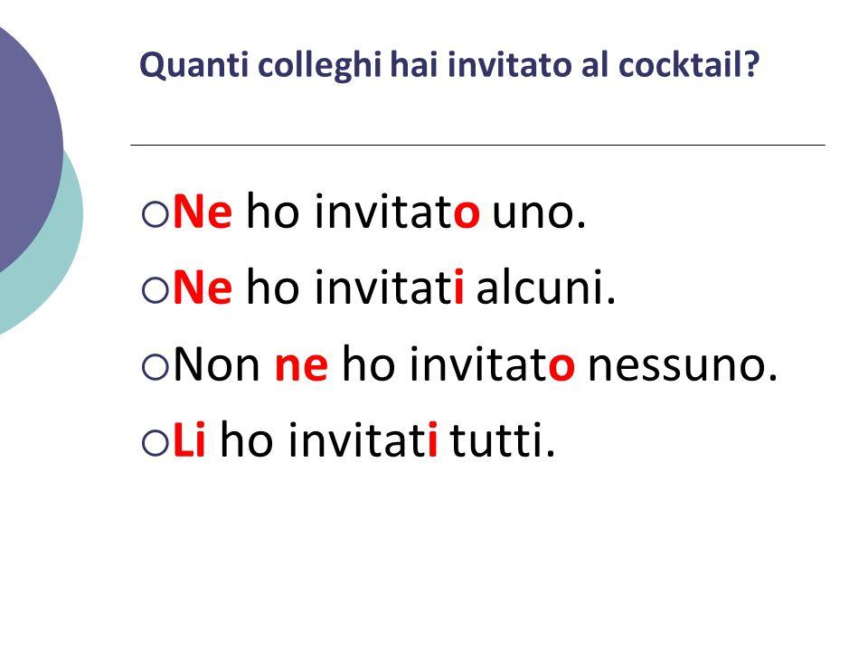 Quanti colleghi hai invitato al cocktail?  Ne ho invitato uno.  Ne ho invitati alcuni.  Non ne ho invitato nessuno.  Li ho invitati tutti.