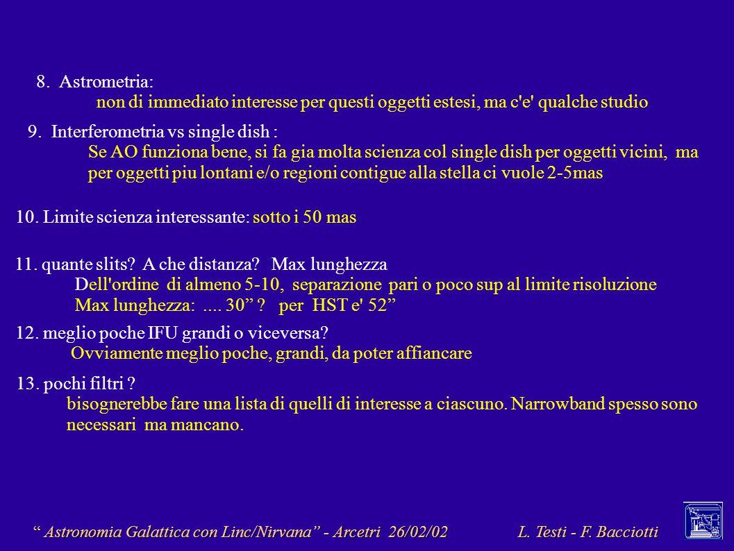 Astronomia Galattica con Linc/Nirvana - Arcetri 26/02/02 L.