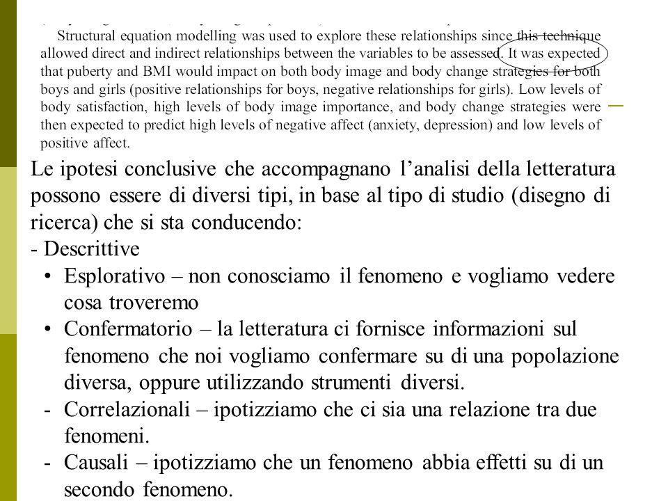 Le ipotesi conclusive che accompagnano l'analisi della letteratura possono essere di diversi tipi, in base al tipo di studio (disegno di ricerca) che