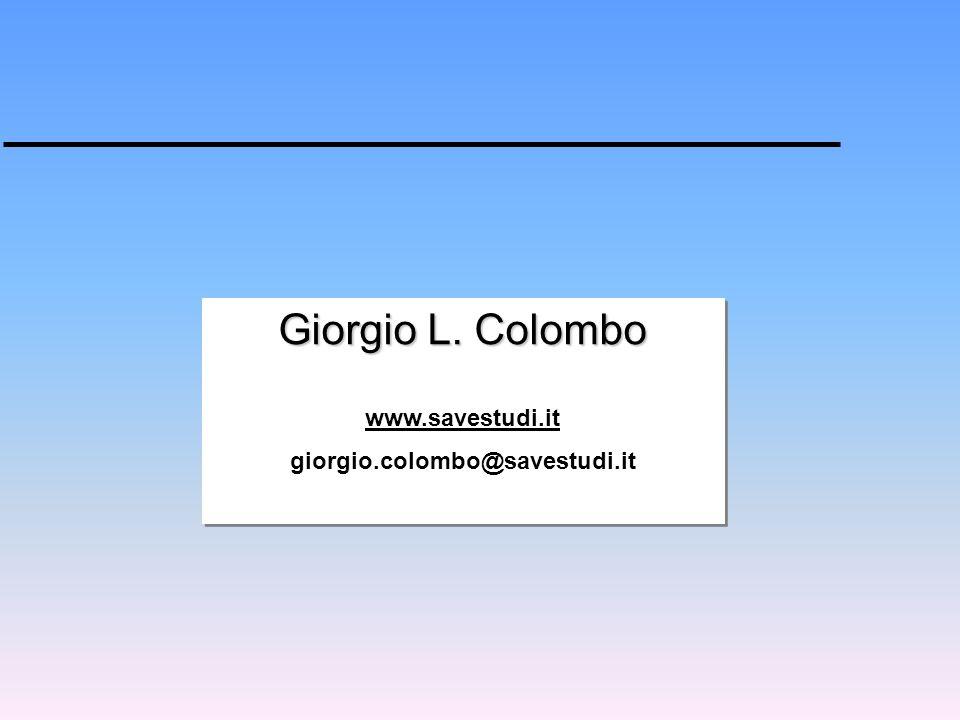 Giorgio L. Colombo www.savestudi.it giorgio.colombo@savestudi.it Giorgio L. Colombo www.savestudi.it giorgio.colombo@savestudi.it