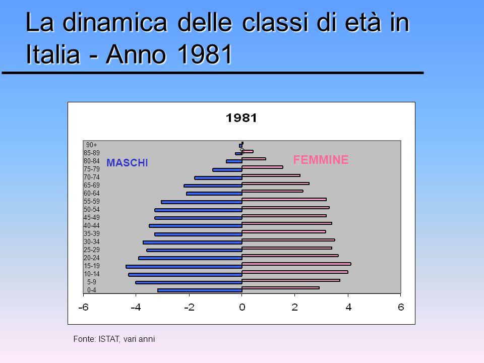 MASCHI FEMMINE 90+ 85-89 80-84 75-79 70-74 65-69 60-64 55-59 50-54 45-49 40-44 35-39 30-34 25-29 20-24 15-19 10-14 5-9 0-4 La dinamica delle classi di età in Italia - Anno 1981 S Fonte: ISTAT, vari anni