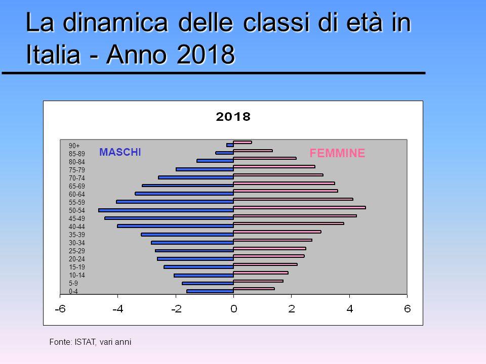 FEMMINE MASCHI 90+ 85-89 80-84 75-79 70-74 65-69 60-64 55-59 50-54 45-49 40-44 35-39 30-34 25-29 20-24 15-19 10-14 5-9 0-4 La dinamica delle classi di età in Italia - Anno 2018 Fonte: ISTAT, vari anni