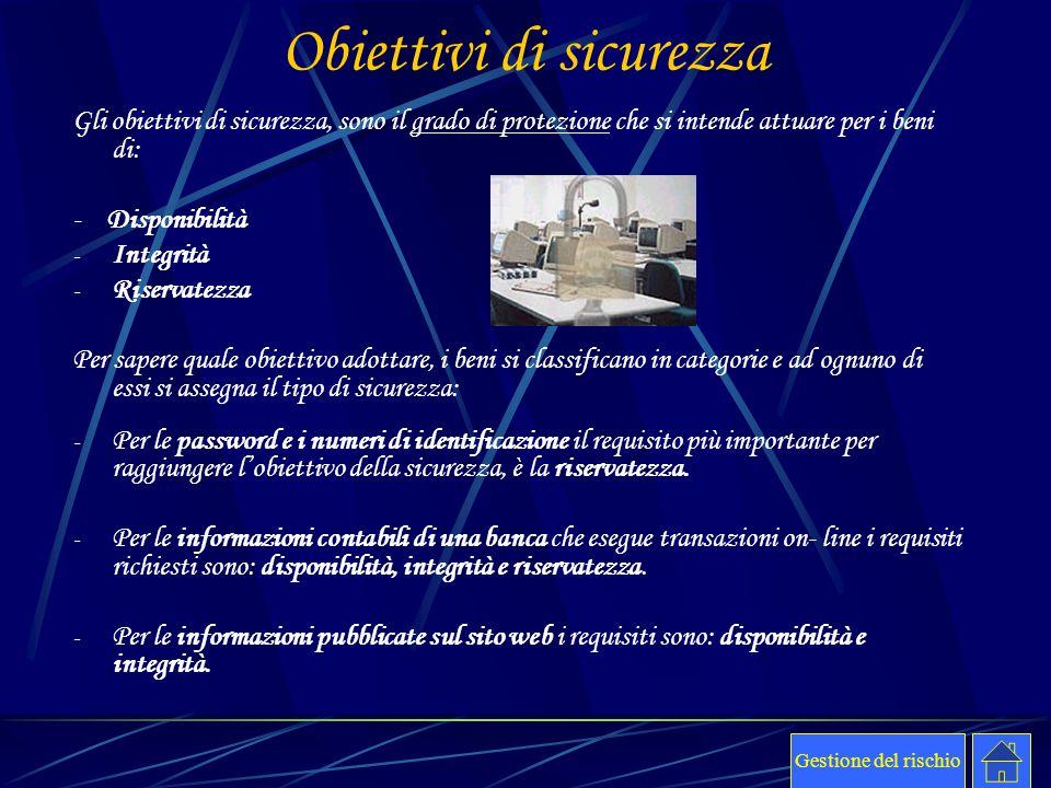 Obiettivi di sicurezza Gli obiettivi di sicurezza, sono il grado di protezione che si intende attuare per i beni di: - Disponibilità - Integrità - Ris