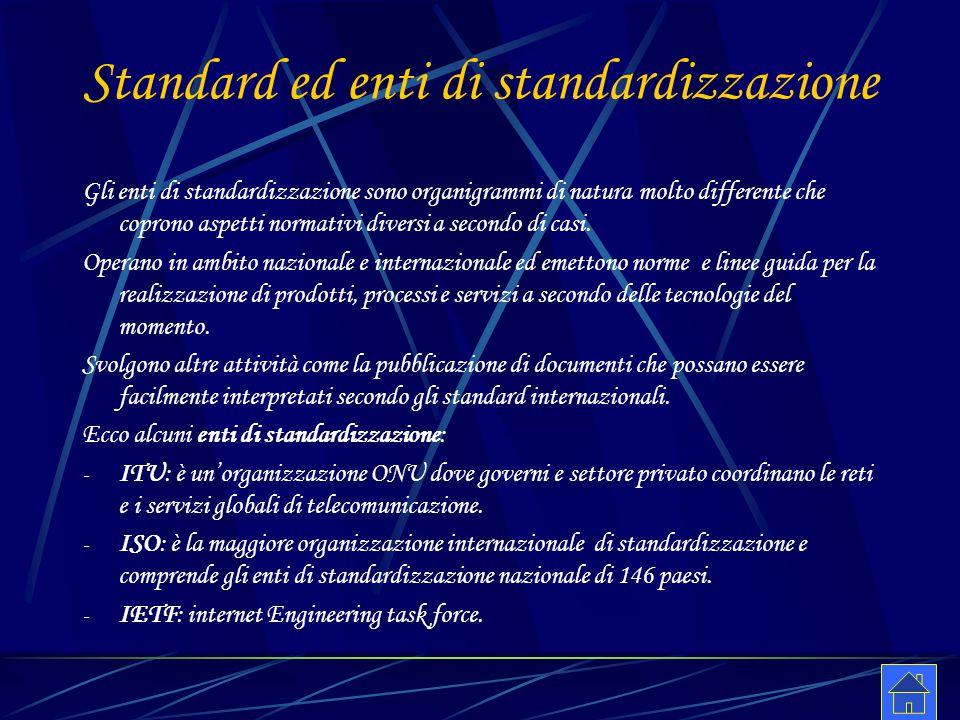 Standard ed enti di standardizzazione Gli enti di standardizzazione sono organigrammi di natura molto differente che coprono aspetti normativi diversi