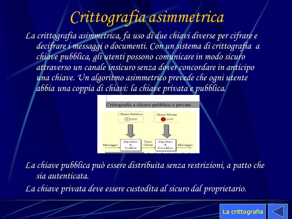 Crittografia asimmetrica La crittografia asimmetrica, fa uso di due chiavi diverse per cifrare e decifrare i messaggi o documenti. Con un sistema di c