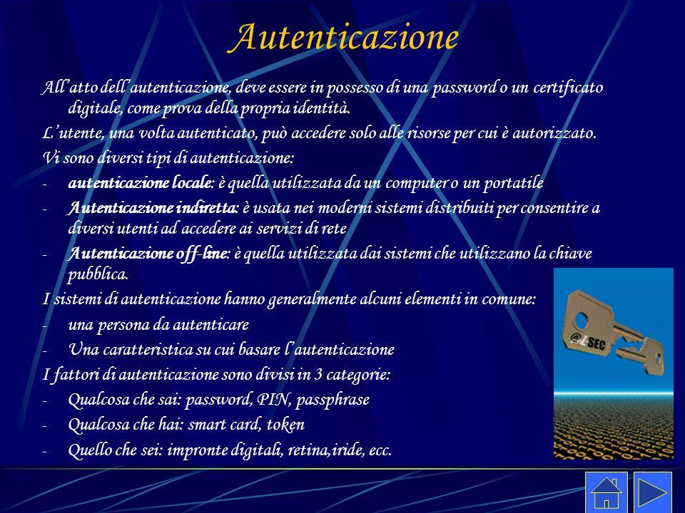 Autenticazione All'atto dell'autenticazione, deve essere in possesso di una password o un certificato digitale, come prova della propria identità. L'u