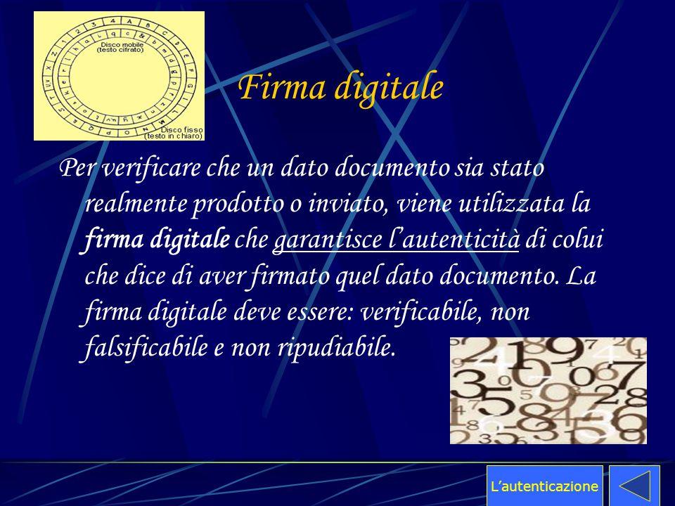 Firma digitale Per verificare che un dato documento sia stato realmente prodotto o inviato, viene utilizzata la firma digitale che garantisce l'autent