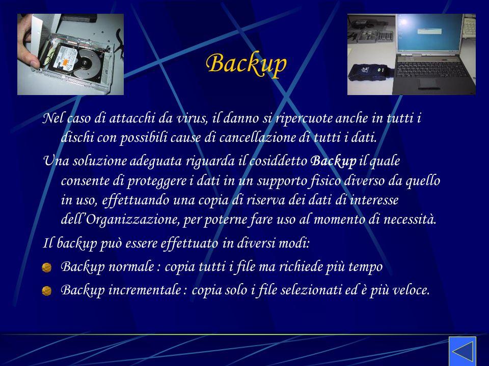 Backup Nel caso di attacchi da virus, il danno si ripercuote anche in tutti i dischi con possibili cause di cancellazione di tutti i dati. Una soluzio