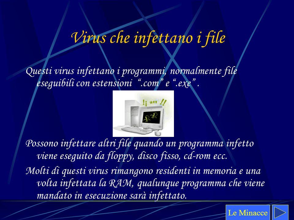 """Virus che infettano i file Questi virus infettano i programmi, normalmente file eseguibili con estensioni """".com"""" e """".exe"""". Possono infettare altri fil"""