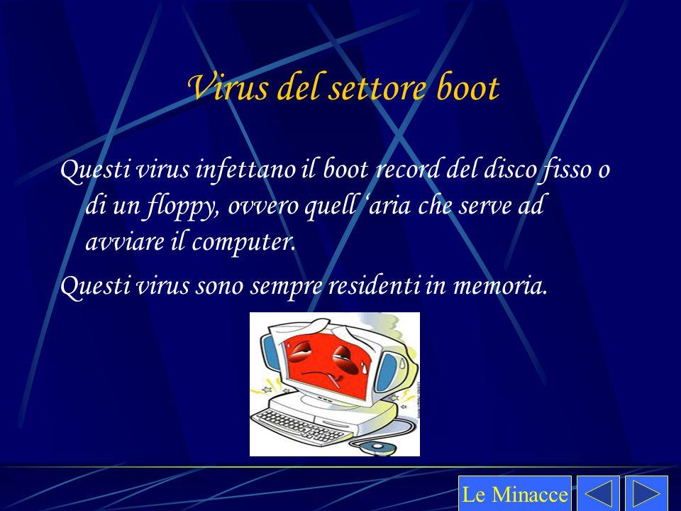 Virus del settore boot Questi virus infettano il boot record del disco fisso o di un floppy, ovvero quell 'aria che serve ad avviare il computer. Ques