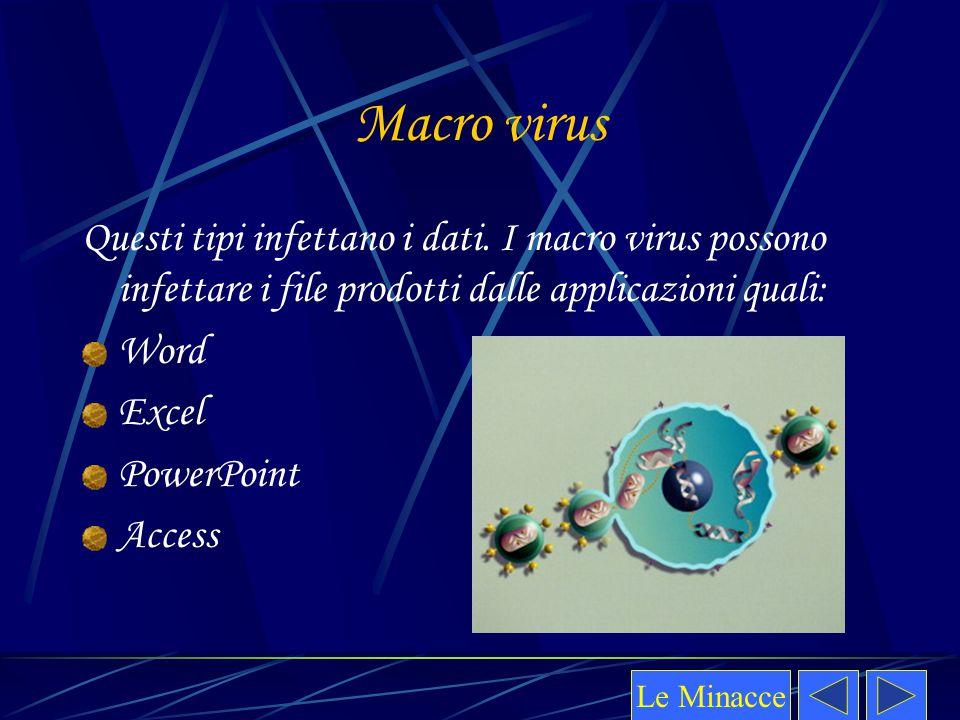 Macro virus Questi tipi infettano i dati. I macro virus possono infettare i file prodotti dalle applicazioni quali: Word Excel PowerPoint Access Le Mi