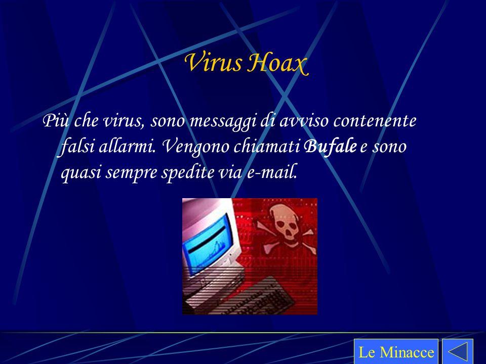 Virus Hoax Più che virus, sono messaggi di avviso contenente falsi allarmi. Vengono chiamati Bufale e sono quasi sempre spedite via e-mail. Le Minacce
