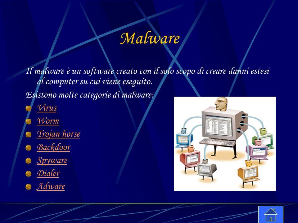 Malware Il malware è un software creato con il solo scopo di creare danni estesi al computer su cui viene eseguito. Esistono molte categorie di malwar