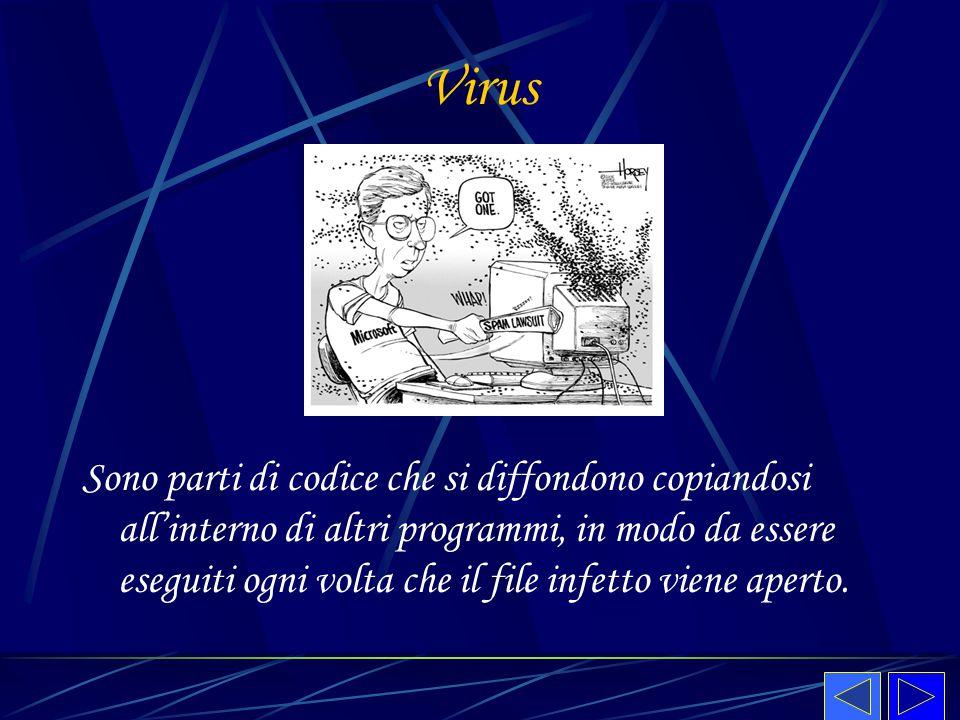 Virus Sono parti di codice che si diffondono copiandosi all'interno di altri programmi, in modo da essere eseguiti ogni volta che il file infetto vien