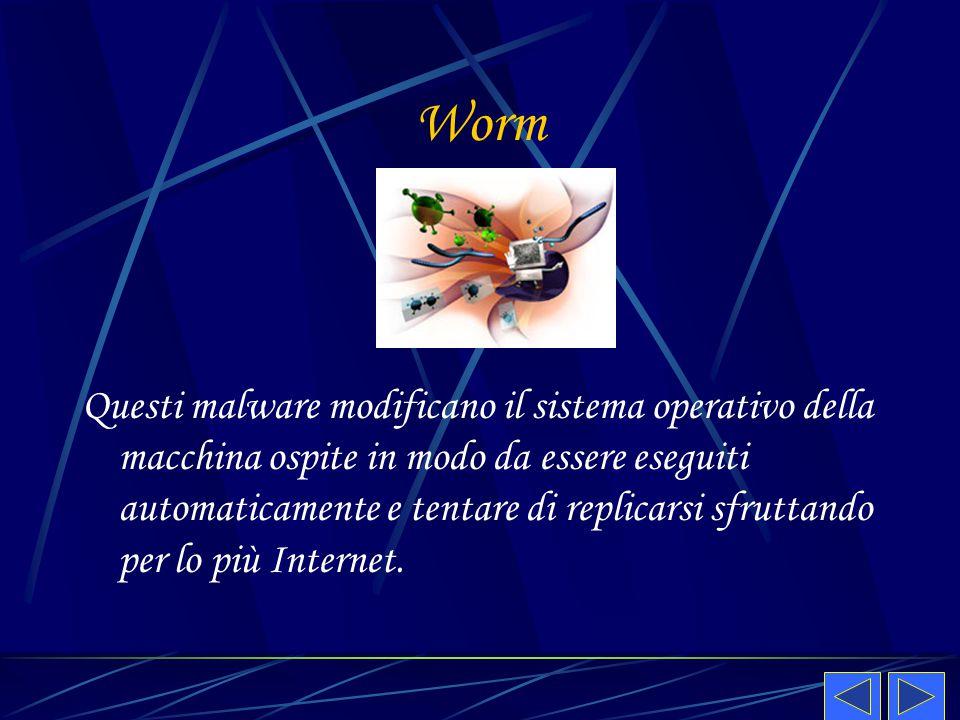 Worm Questi malware modificano il sistema operativo della macchina ospite in modo da essere eseguiti automaticamente e tentare di replicarsi sfruttand