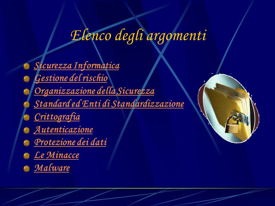 Elenco degli argomenti Sicurezza Informatica Gestione del rischio Organizzazione della Sicurezza Standard ed Enti di Standardizzazione Crittografia Au