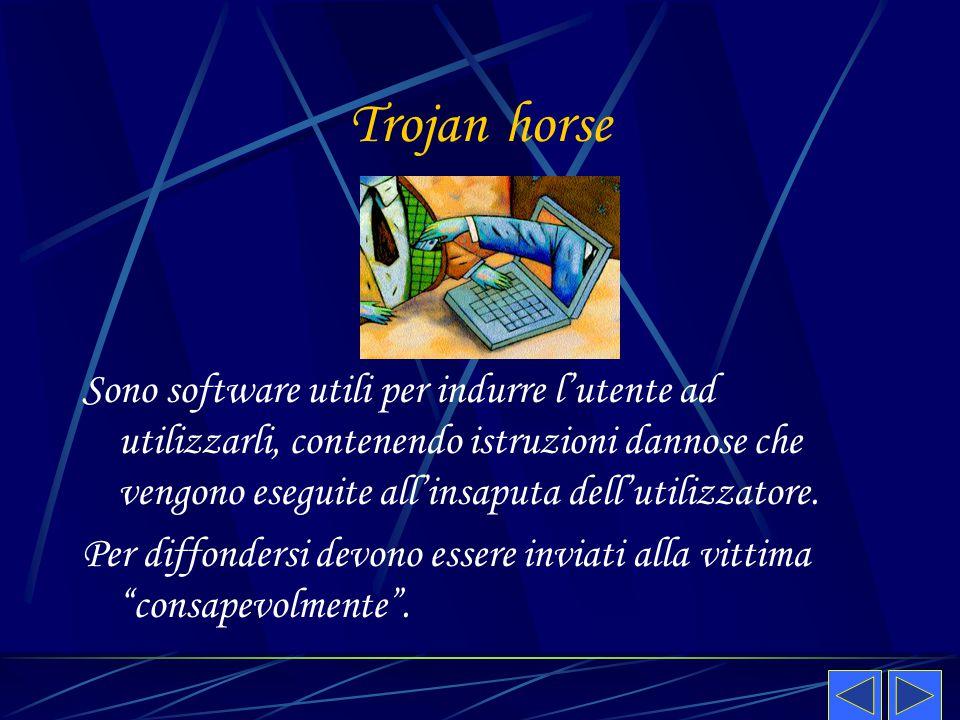 Trojan horse Sono software utili per indurre l'utente ad utilizzarli, contenendo istruzioni dannose che vengono eseguite all'insaputa dell'utilizzator