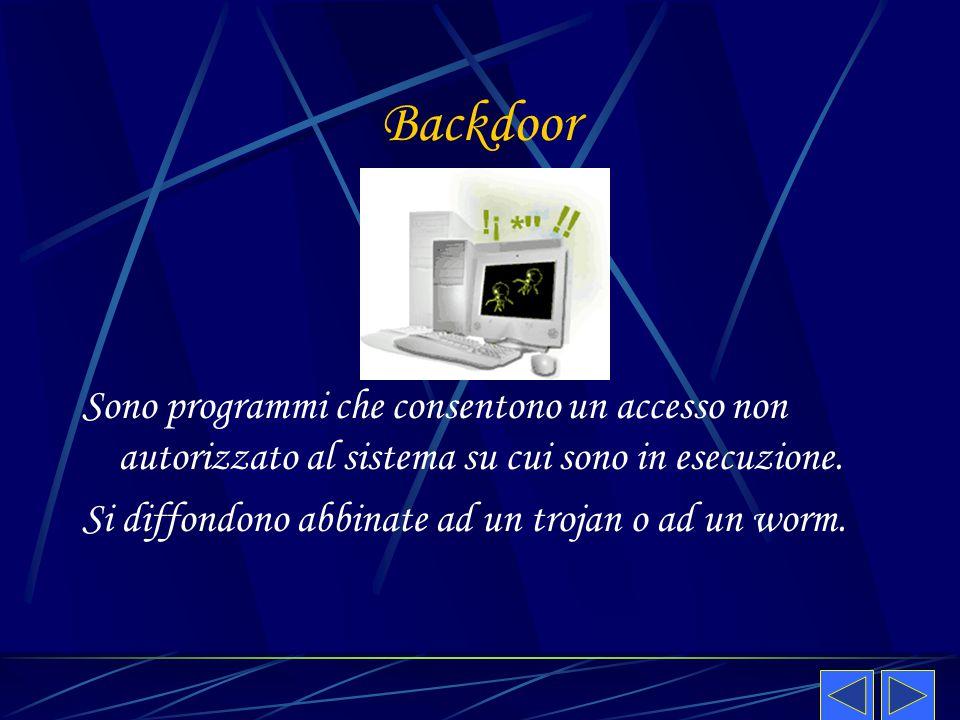 Backdoor Sono programmi che consentono un accesso non autorizzato al sistema su cui sono in esecuzione. Si diffondono abbinate ad un trojan o ad un wo