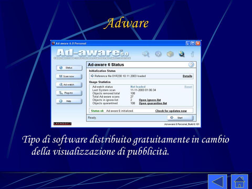 Adware Tipo di software distribuito gratuitamente in cambio della visualizzazione di pubblicità.