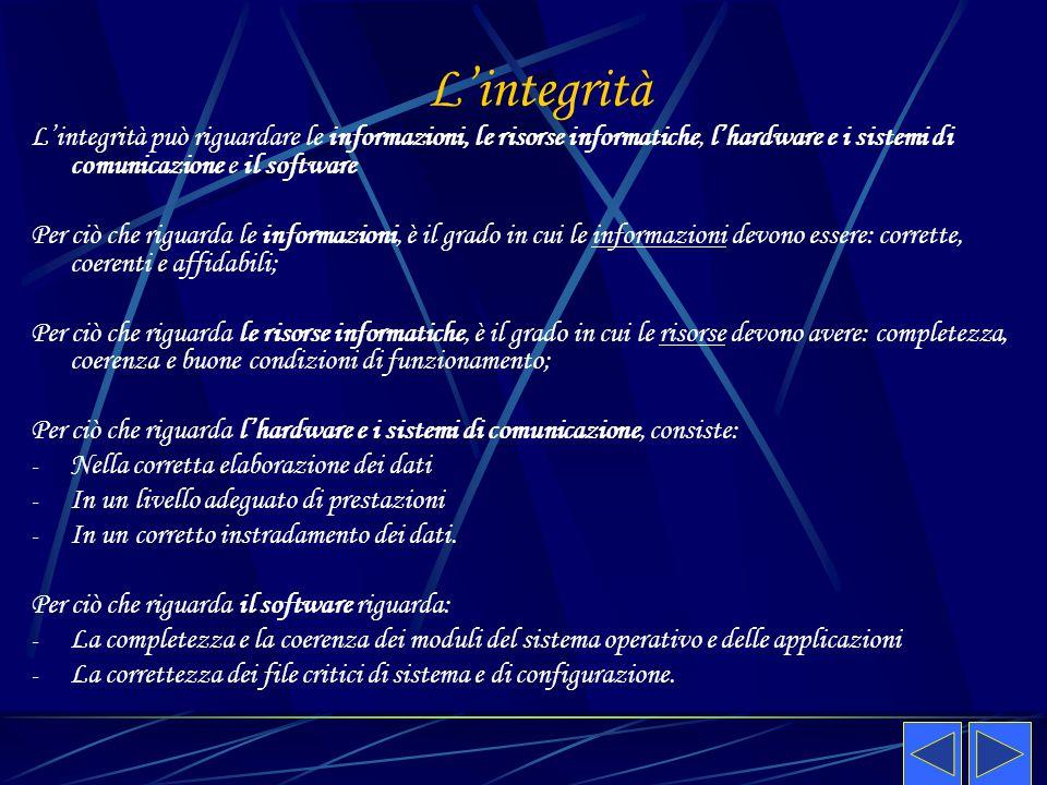 L'integrità L'integrità può riguardare le informazioni, le risorse informatiche, l'hardware e i sistemi di comunicazione e il software Per ciò che rig