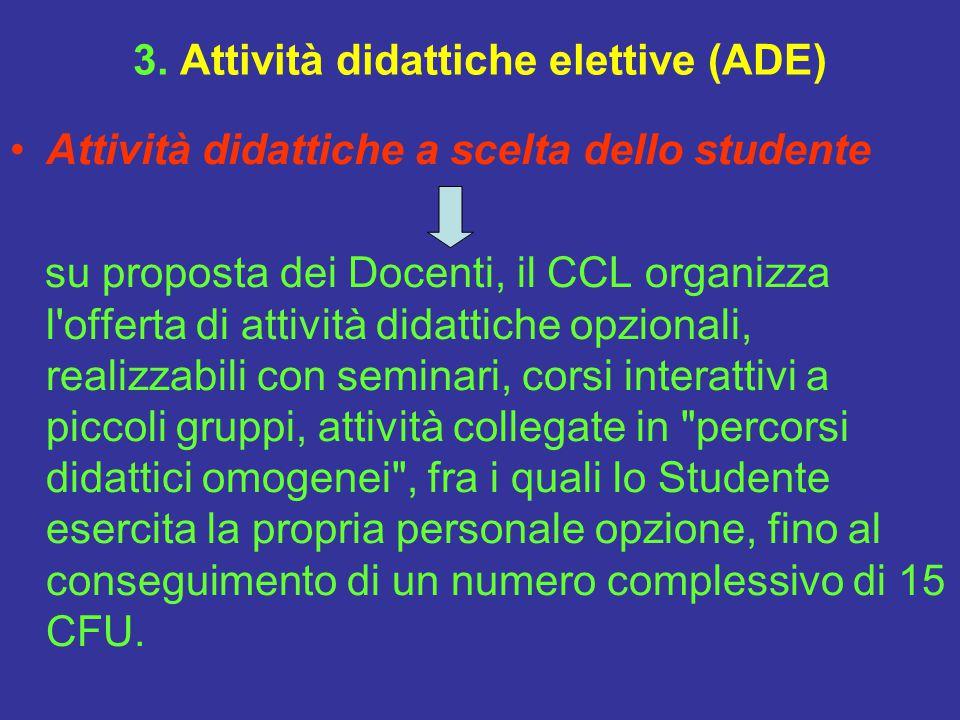 3. Attività didattiche elettive (ADE) Attività didattiche a scelta dello studente su proposta dei Docenti, il CCL organizza l'offerta di attività dida