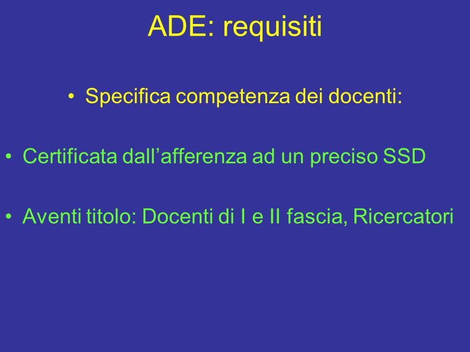 ADE: requisiti Specifica competenza dei docenti: Certificata dall'afferenza ad un preciso SSD Aventi titolo: Docenti di I e II fascia, Ricercatori