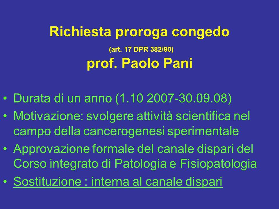 Richiesta proroga congedo (art.17 DPR 382/80) prof.