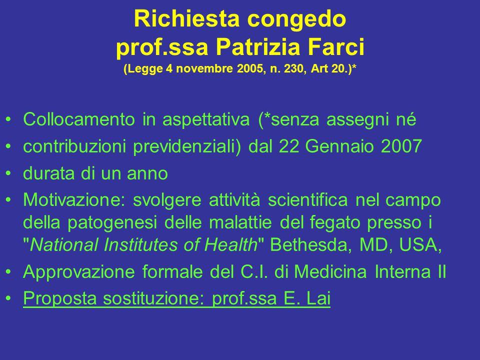 Richiesta congedo prof.ssa Patrizia Farci (Legge 4 novembre 2005, n.