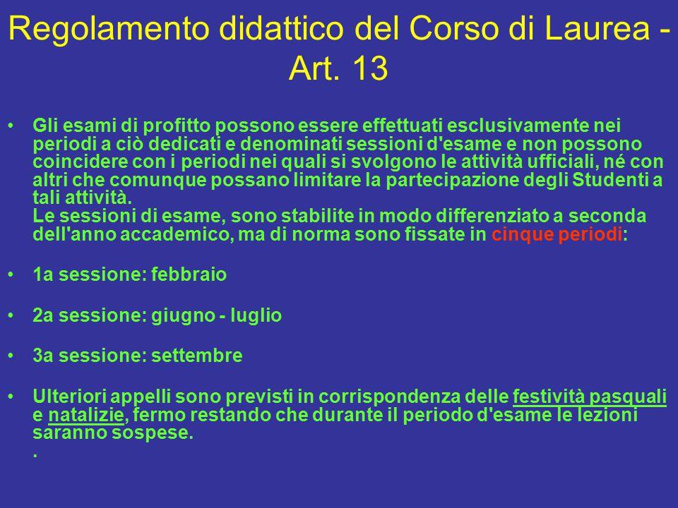 Regolamento didattico del Corso di Laurea - Art.