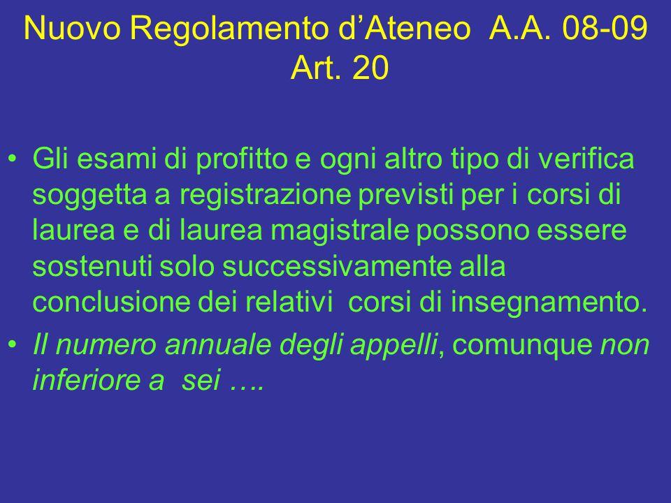 Nuovo Regolamento d'Ateneo A.A.08-09 Art.