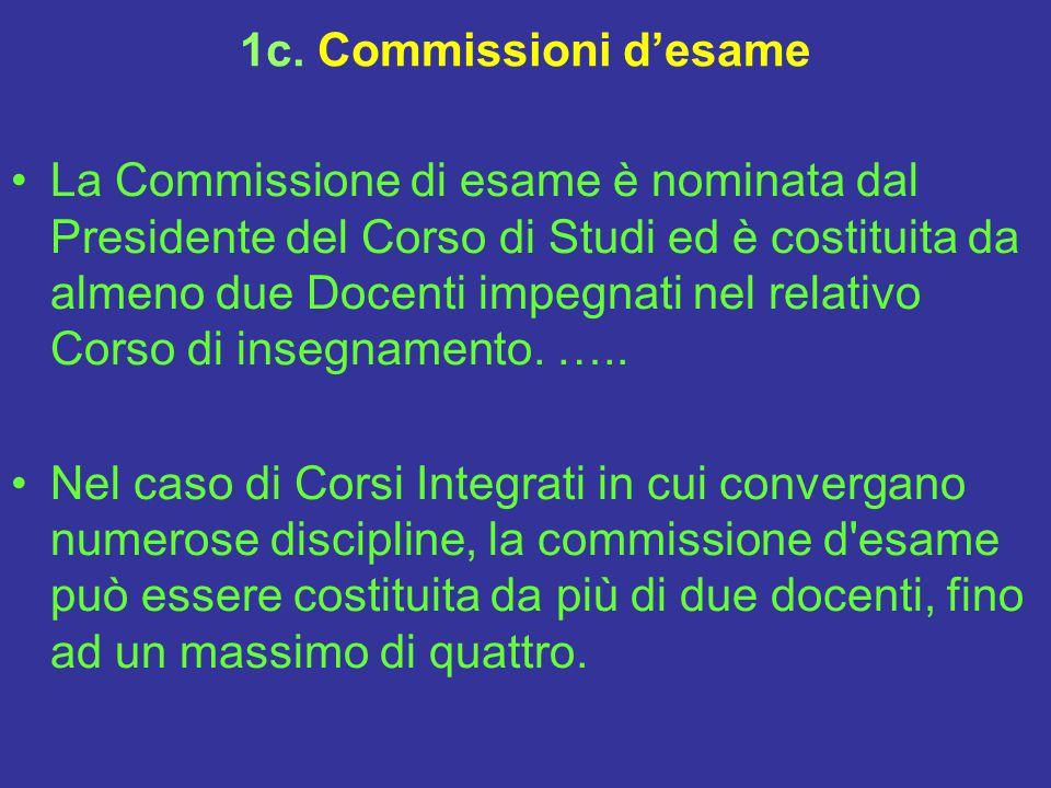 1c. Commissioni d'esame La Commissione di esame è nominata dal Presidente del Corso di Studi ed è costituita da almeno due Docenti impegnati nel relat