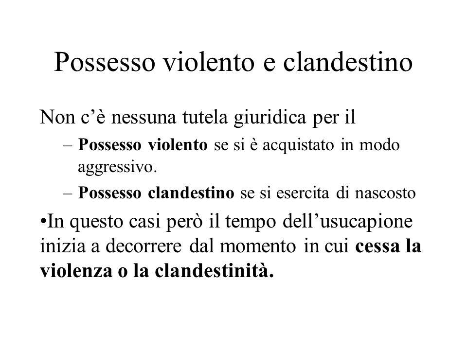 Possesso violento e clandestino Non c'è nessuna tutela giuridica per il –Possesso violento se si è acquistato in modo aggressivo. –Possesso clandestin
