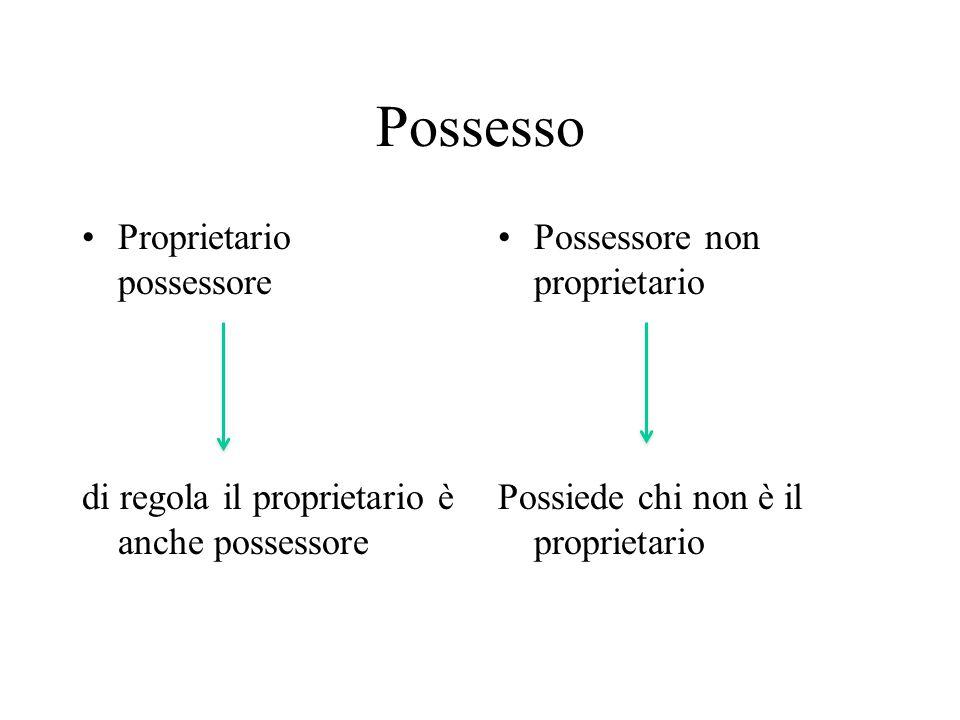 Possesso Proprietario possessore di regola il proprietario è anche possessore Possessore non proprietario Possiede chi non è il proprietario